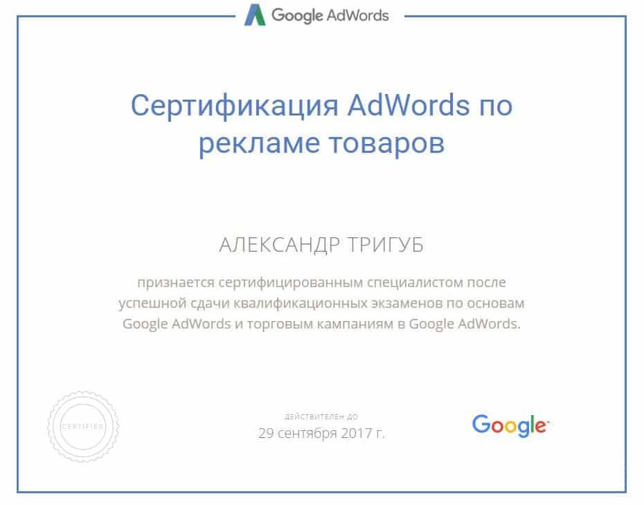 Сертификат Александра Тригуб по AdWords по рекламе товаров