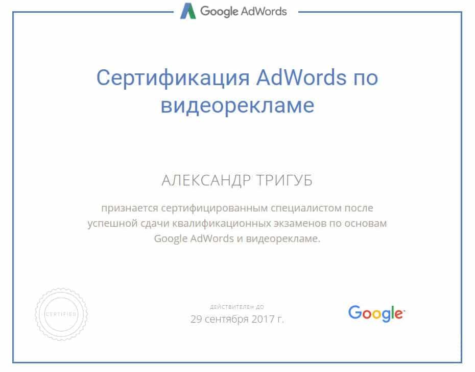 Сертификат Александра Тригуб по AdWords по видеорекламе